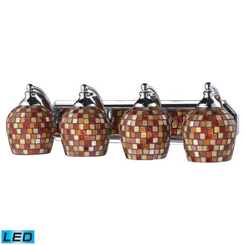 Elk Lighting Vanity Four Light LED Bath Fixture In Polished Chrome And Multi-Colored Mosaic Glass