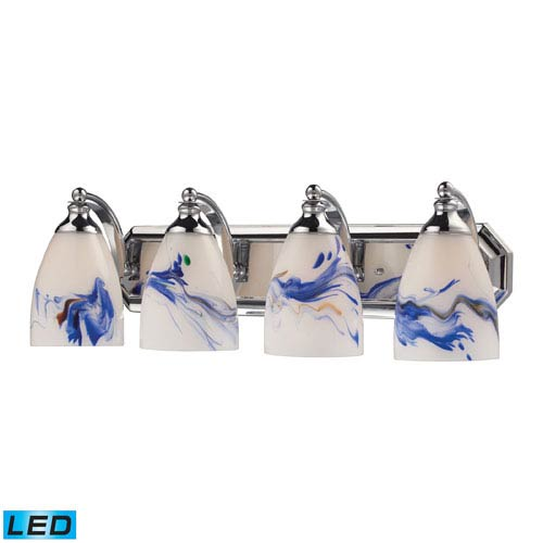 Elk Lighting Vanity Four Light LED Bath Fixture In Polished Chrome And Mountain Glass
