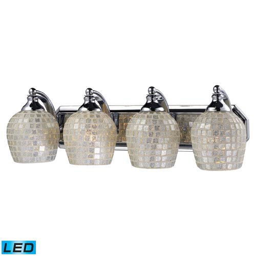 Elk Lighting Vanity Four Light LED Bath Fixture In Polished Chrome And Silver Mosaic Glass