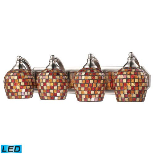 Elk Lighting Vanity Four Light LED Bath Fixture In Satin Nickel And Multi Mosaic Glass
