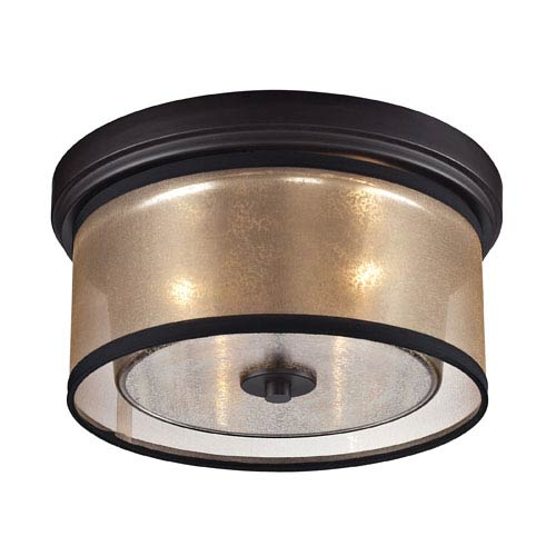 Diffusion Oil Rubbed Bronze Two Light Flush Mount Fixture