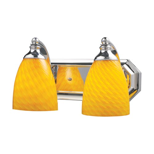 Elk Lighting Polished Chrome Two-Light Bath Light with Canary Glass