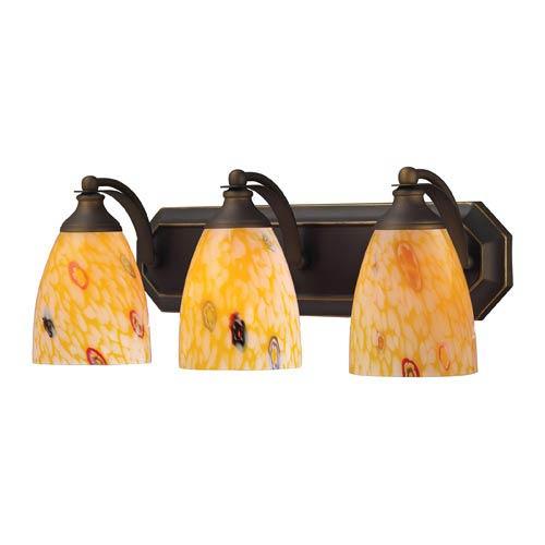 Elk Lighting Aged Bronze Three-Light Bath Light with Yellow Blaze Glass