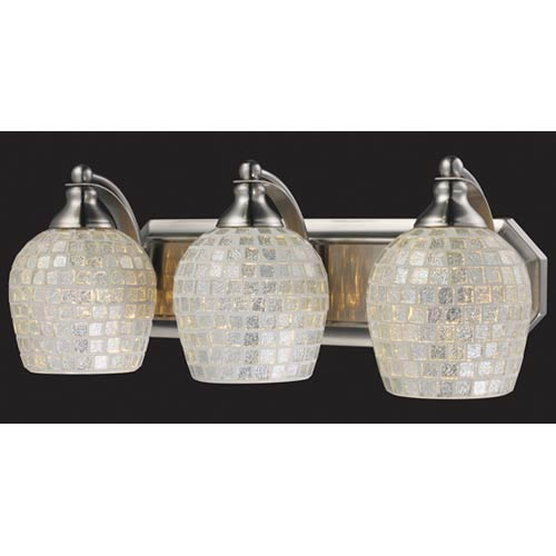 Silver Mosaic Satin Nickel Three-Light Bath Fixture