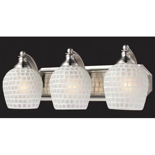 White Mosaic Satin Nickel Three-Light Bath Fixture