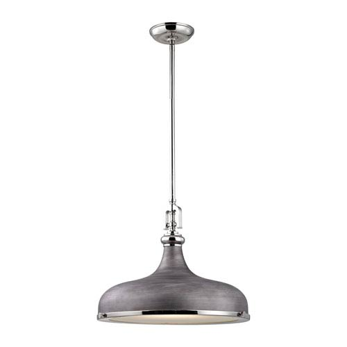 Rutherford Polished Nickel 18-Inch One-Light Pendant with Weathered Zinc Shade