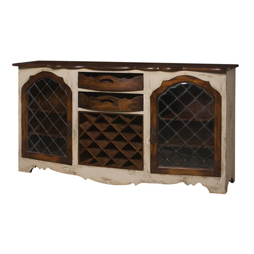 Handpainted Wine Storage Cream Credenza