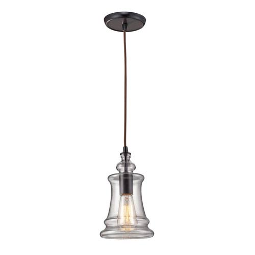 Elk Lighting Menlow Park Oiled Bronze 10-Inch One Light Mini Pendant with Clear Blown Glass Shade