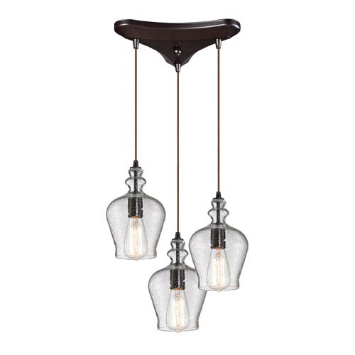 Elk Lighting Menlow Park Oil Rubbed Bronze 10-Inch Three Light Chandelier
