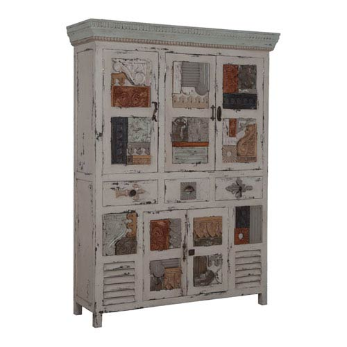Handpainted Artifacts Cream Collage Cabinet