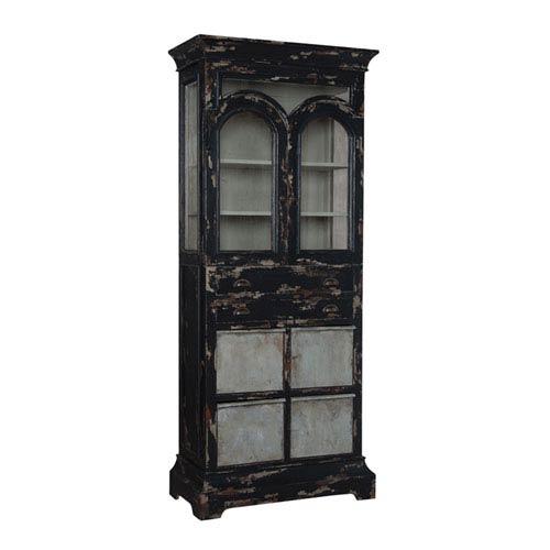 Handpainted Farmhouse Black Kitchen Display Cabinet