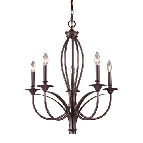 Elk Lighting Medford Oiled Bronze Five Light Chandelier