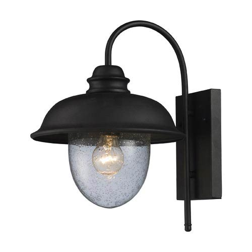 Streetside Cafe Matte Black One-Light Outdoor Wall Light