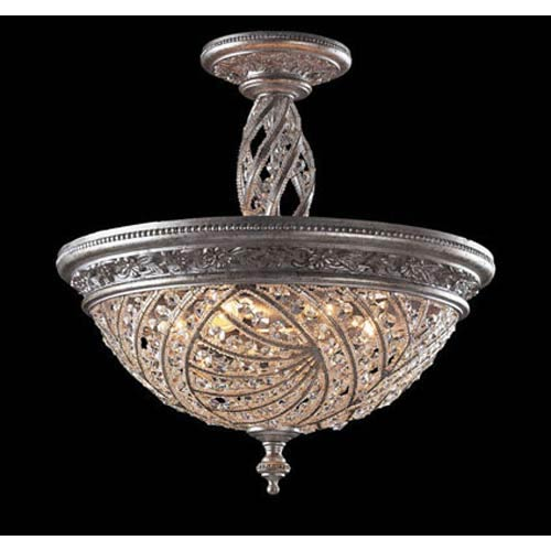 Renaissance Sunset Silver Crystal Semi-Flush