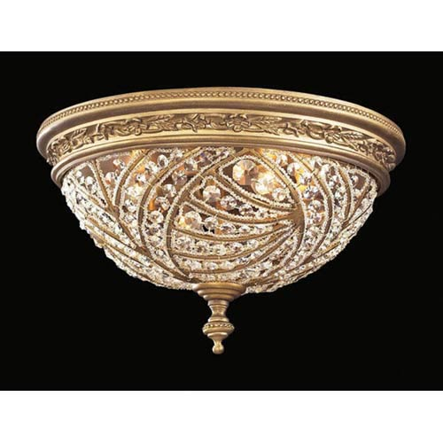 Renaissance Dark Bronze Crystal Flush Mount
