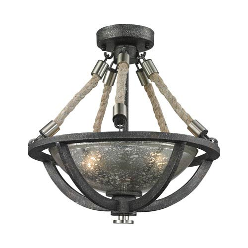 Natural Rope Silvered Graphite Two-Light Semi Flush Mount