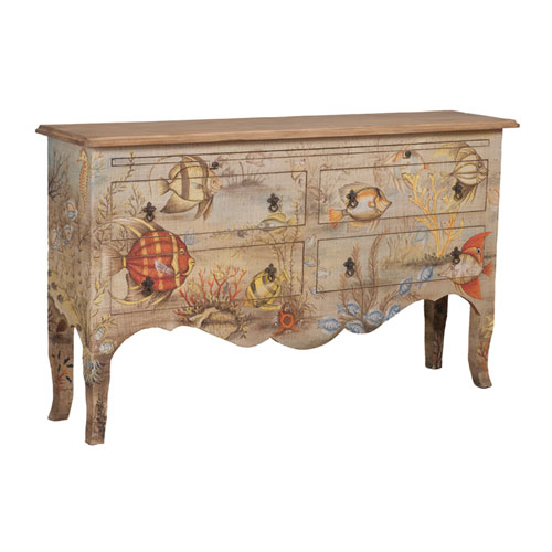 Handpainted Island Mahogany Cottage Fabric Applique Sideboard