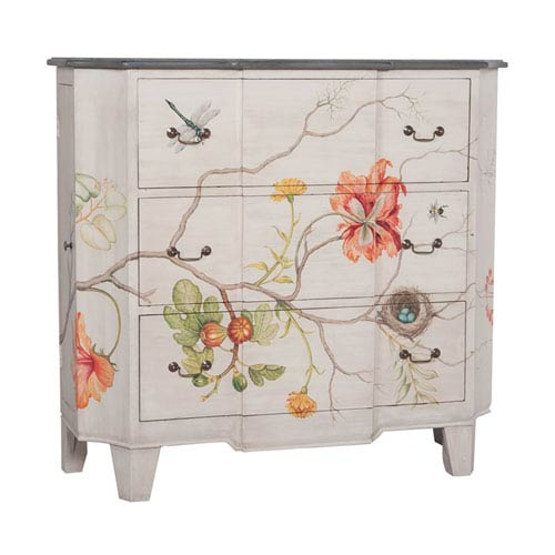 Handpainted Devon White Wash Floral Painted Chest
