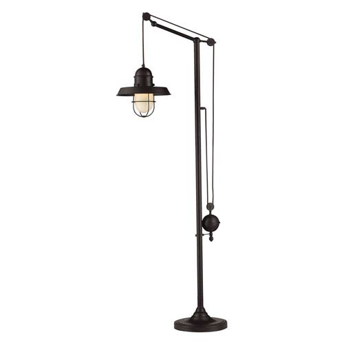Farmhouse Oiled Bronze Pulley Adjustable Height One Light Floor Lamp