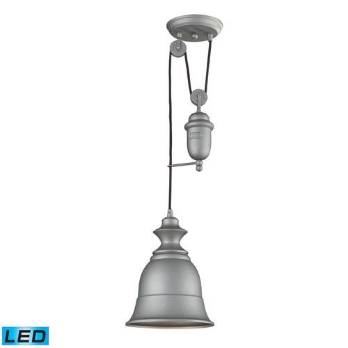 Elk Lighting Farmhouse Aged Pewter Pulley Adjustable Height Led One Light Mini Pendant