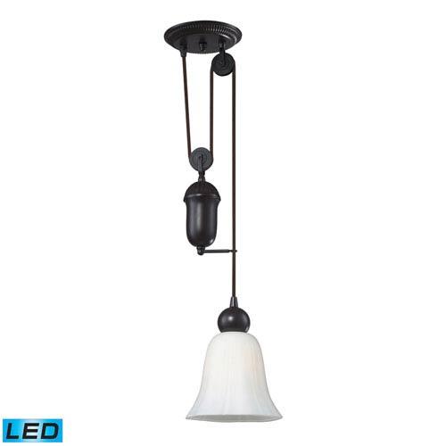 adjustable lighting fixtures. Elk Lighting Farmhouse Oiled Bronze Pulley Adjustable Height LED One Light Mini Pendant Fixtures