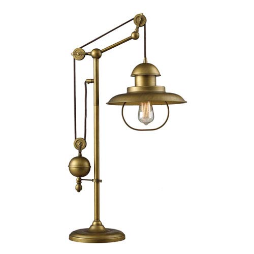 Farmhouse Antique Brass Pulley Adjustable Height One Light Table Lamp