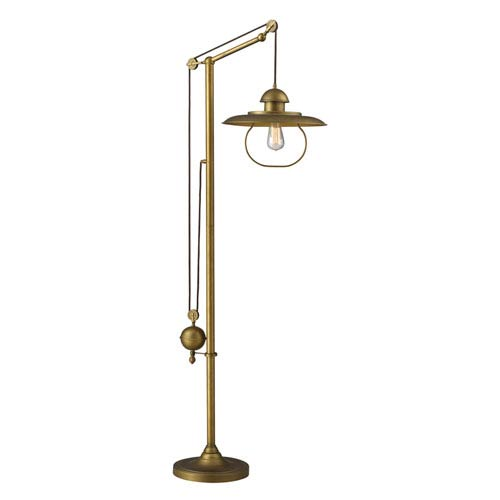 Elk Lighting Farmhouse Antique Brass Pulley Adjustable Height One Light Floor Lamp
