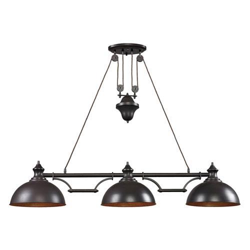 Farmhouse Oiled Bronze Pulley Adjustable Height LED Three Light Billiard and Island Light