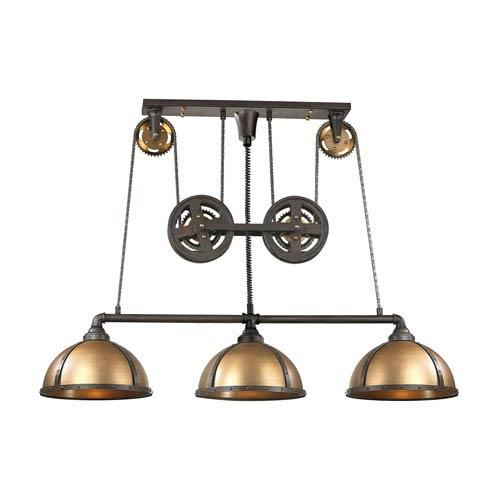 Elk Lighting Torque Vintage Rust and Vintage Brass 16.5-Inch Three-Light Island Pendant