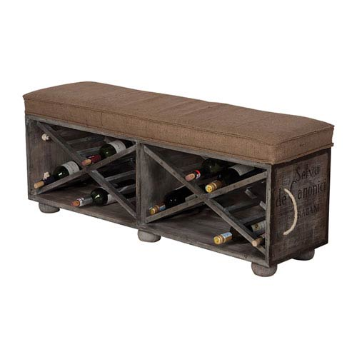 Handpainted Wine Crate Gray Ottoman