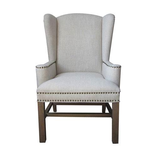 GuildMaster Handpainted Allcott Natural Wing Back Chair