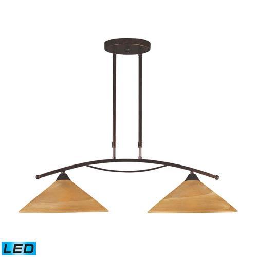 Elk Lighting Elysburg Two Light LED Island Light In Aged Bronze And Tea Swirl Glass