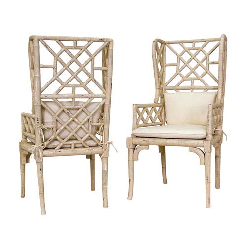GuildMaster Handpainted Bamboo Wing Back Cream Chairs - Set of Two