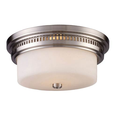 Elk Lighting Chadwick Satin Nickel 5-Inch Two Light Flush Mount Fixture