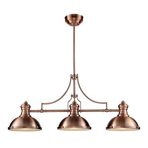 Chadwick Antique Copper 21-Inch Three Light Billiard and Island