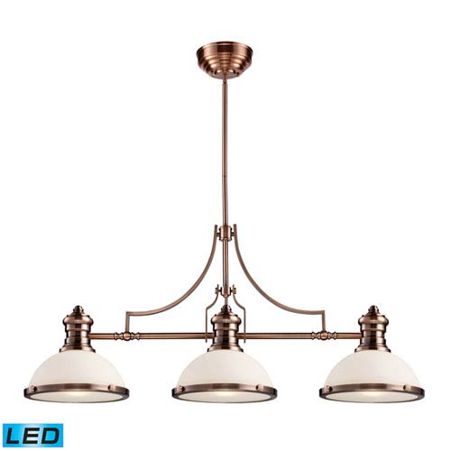 Elk Lighting Chadwick Antique Copper LED Three Light Billiard and Island