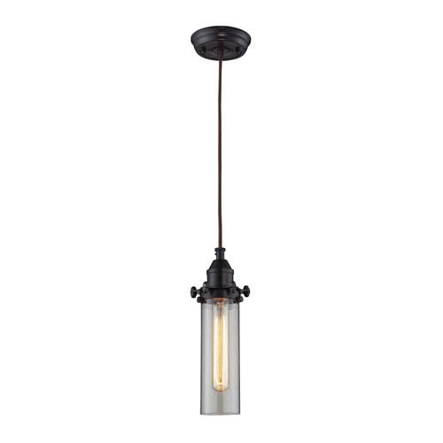 Elk Lighting Fulton Oil Rubbed Bronze One-Light Mini Pendant with Clear Glass