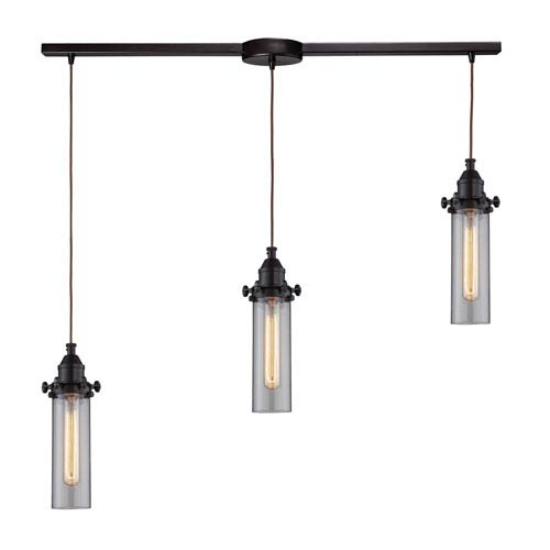 Fulton Oil Rubbed Bronze Three-Light Linear Pendant with Clear Glass