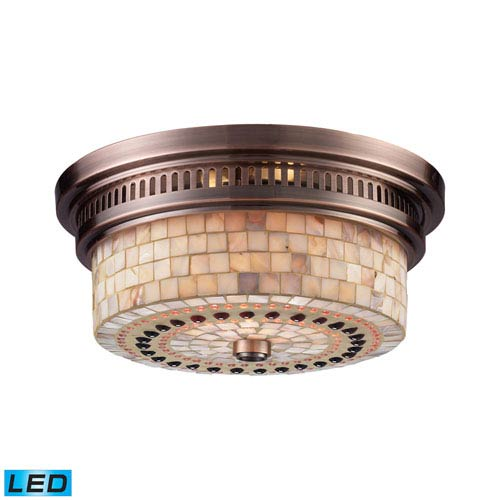 Elk Lighting Chadwick Antique Copper 13-Inch LED Two Light Flush Mount Fixture
