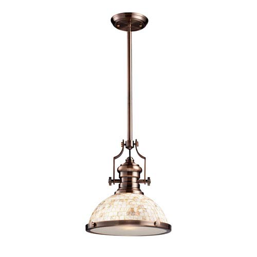 Elk Lighting Chadwick Antique Copper and Cappa Shell 13-Inch One Light Pendant