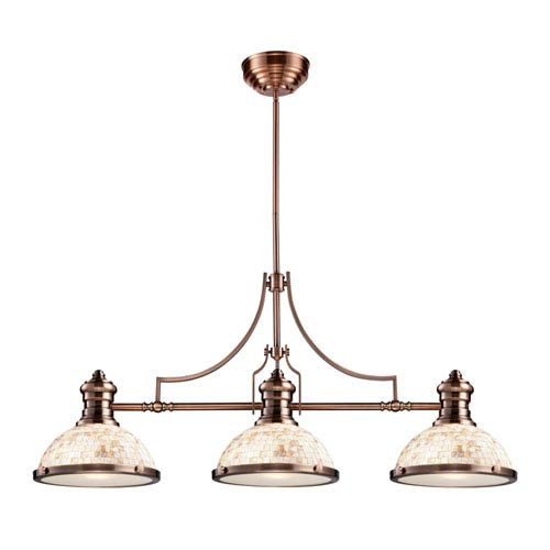 Elk Lighting Chadwick Antique Copper Three Light Billiard and Island