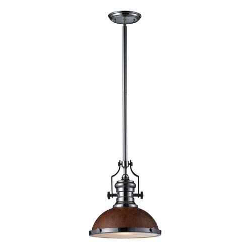 Elk Lighting Chadwick antique Copper and Polished Nickel One Light Pendant with Burl Wood Shade