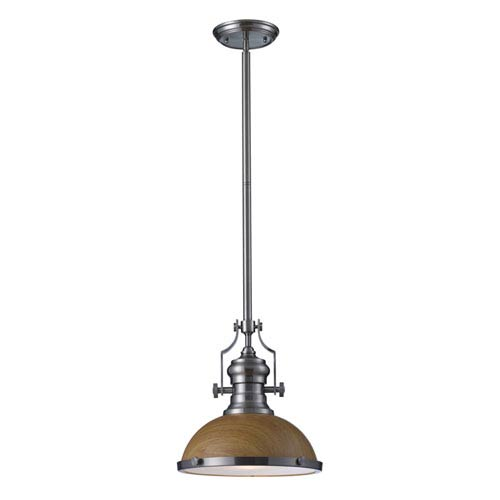 Elk Lighting Chadwick Medium Oak and Satin Nickel One Light Pendant