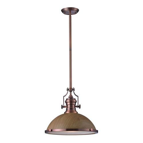 Elk Lighting Chadwick Oak and Antique Copper One Light Pendant