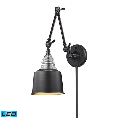 Insulator Glass Oiled Bronze LED One Light Swingarm Lamp