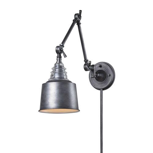 Weathered Zinc One-Light Swing Arm Sconce