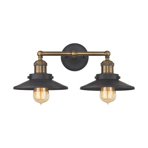 English Pub Antique Brass and Tarnished Graphite 18-Inch Two-Light Vanity