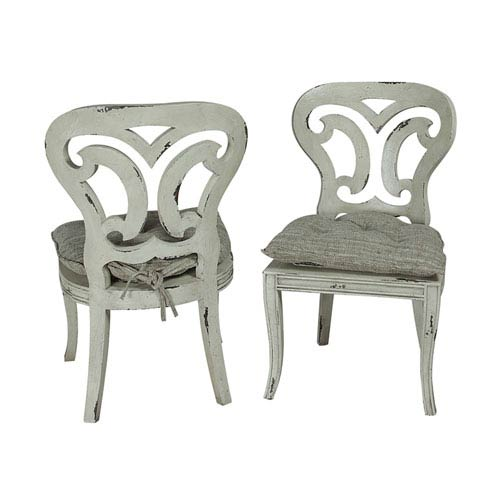 Handpainted Artifacts White Side Chairs - Set of Two