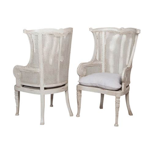 GuildMaster Handpainted Caned Gray Wing Back Chairs - Set of Two