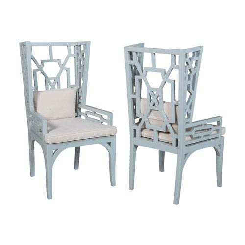 Handpainted Manor Blue Wing Chairs - Set of Two